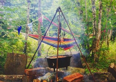 Wild Warriors camp fire and hammock